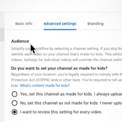 Youtube Child Audience Settings
